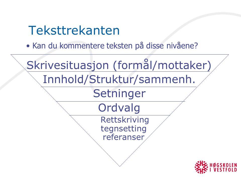 Teksttrekanten Skrivesituasjon (formål/mottaker) Innhold/Struktur/sammenh. Setninger Ordvalg Rettskriving tegnsetting referanser Kan du kommentere tek