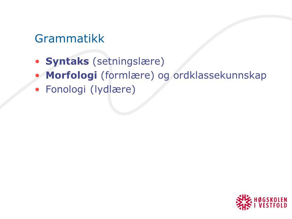 Grammatikk Syntaks (setningslære) Morfologi (formlære) og ordklassekunnskap Fonologi (lydlære)