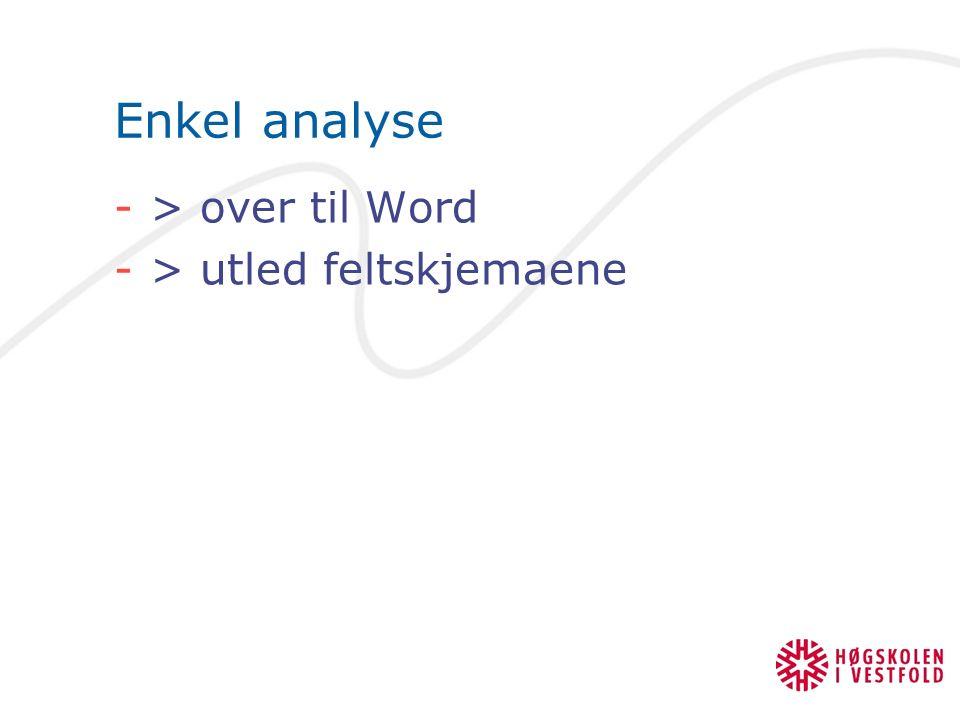 Enkel analyse -> over til Word -> utled feltskjemaene