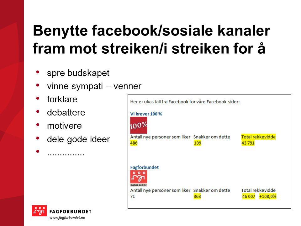 Benytte facebook/sosiale kanaler fram mot streiken/i streiken for å spre budskapet vinne sympati – venner forklare debattere motivere dele gode ideer...............
