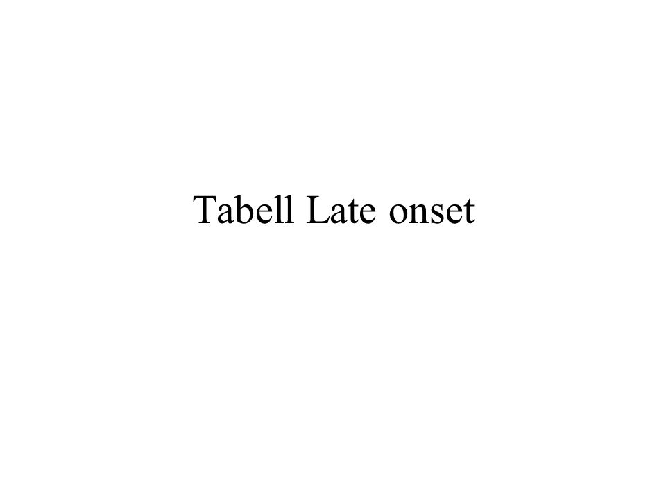 Tabell Late onset