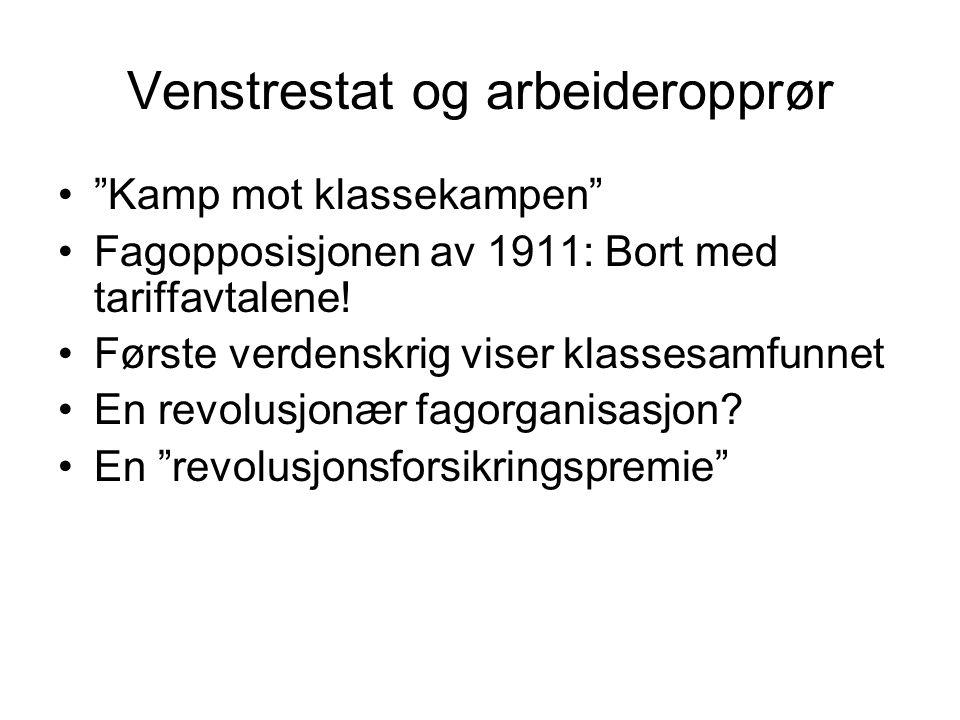 Venstrestat og arbeideropprør Kamp mot klassekampen Fagopposisjonen av 1911: Bort med tariffavtalene.