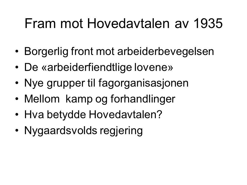 Fram mot Hovedavtalen av 1935 Borgerlig front mot arbeiderbevegelsen De «arbeiderfiendtlige lovene» Nye grupper til fagorganisasjonen Mellom kamp og forhandlinger Hva betydde Hovedavtalen.
