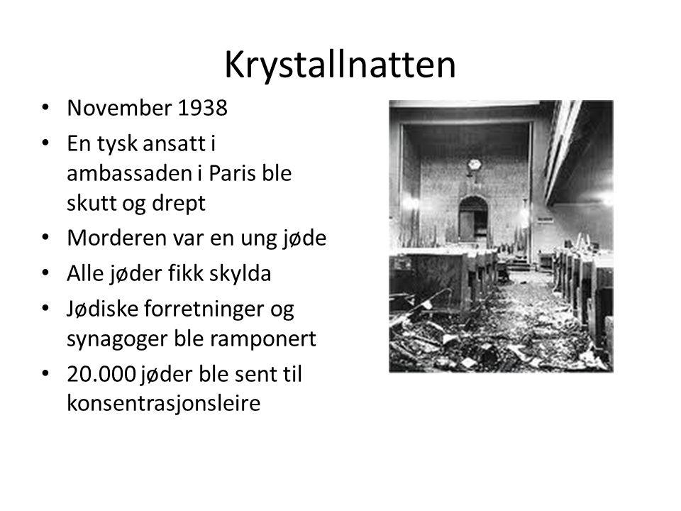 Krystallnatten November 1938 En tysk ansatt i ambassaden i Paris ble skutt og drept Morderen var en ung jøde Alle jøder fikk skylda Jødiske forretninger og synagoger ble ramponert 20.000 jøder ble sent til konsentrasjonsleire