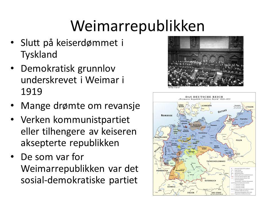 Weimarrepublikken Slutt på keiserdømmet i Tyskland Demokratisk grunnlov underskrevet i Weimar i 1919 Mange drømte om revansje Verken kommunistpartiet eller tilhengere av keiseren aksepterte republikken De som var for Weimarrepublikken var det sosial-demokratiske partiet