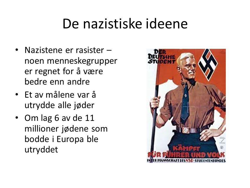 De nazistiske ideene Nazistene er rasister – noen menneskegrupper er regnet for å være bedre enn andre Et av målene var å utrydde alle jøder Om lag 6 av de 11 millioner jødene som bodde i Europa ble utryddet