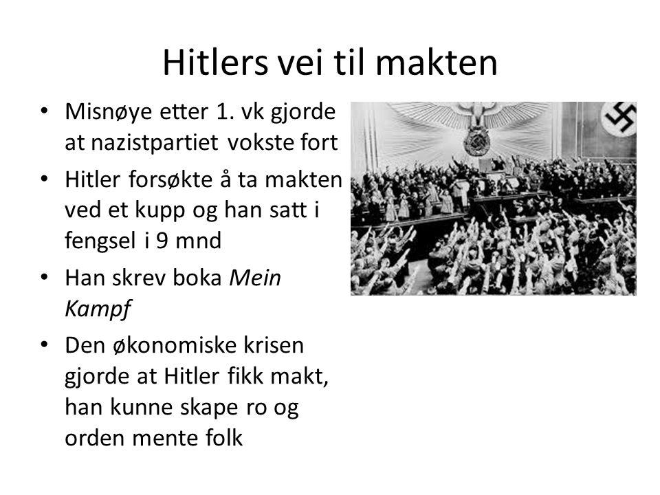 Hitlers vei til makten Misnøye etter 1.