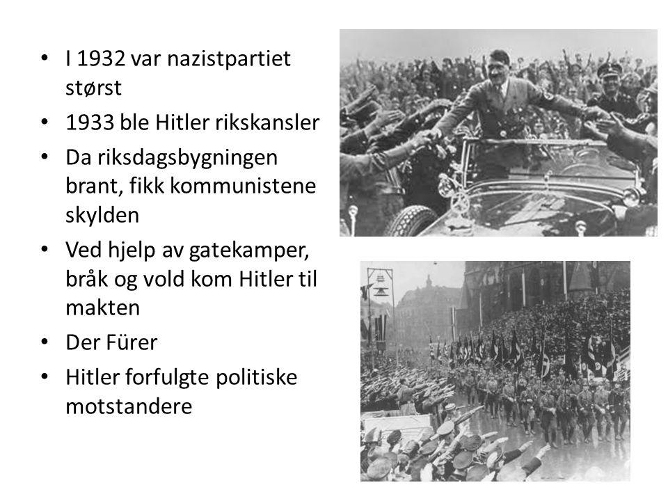 I 1932 var nazistpartiet størst 1933 ble Hitler rikskansler Da riksdagsbygningen brant, fikk kommunistene skylden Ved hjelp av gatekamper, bråk og vold kom Hitler til makten Der Fürer Hitler forfulgte politiske motstandere