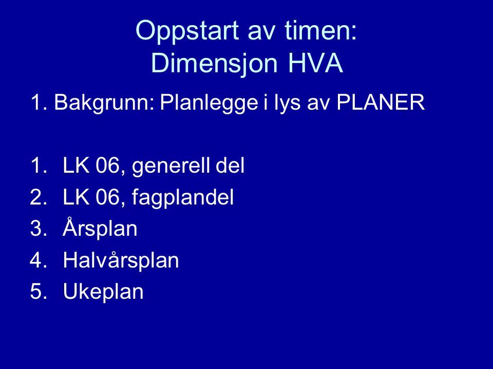 Oppstart av timen: Dimensjon HVA 1.