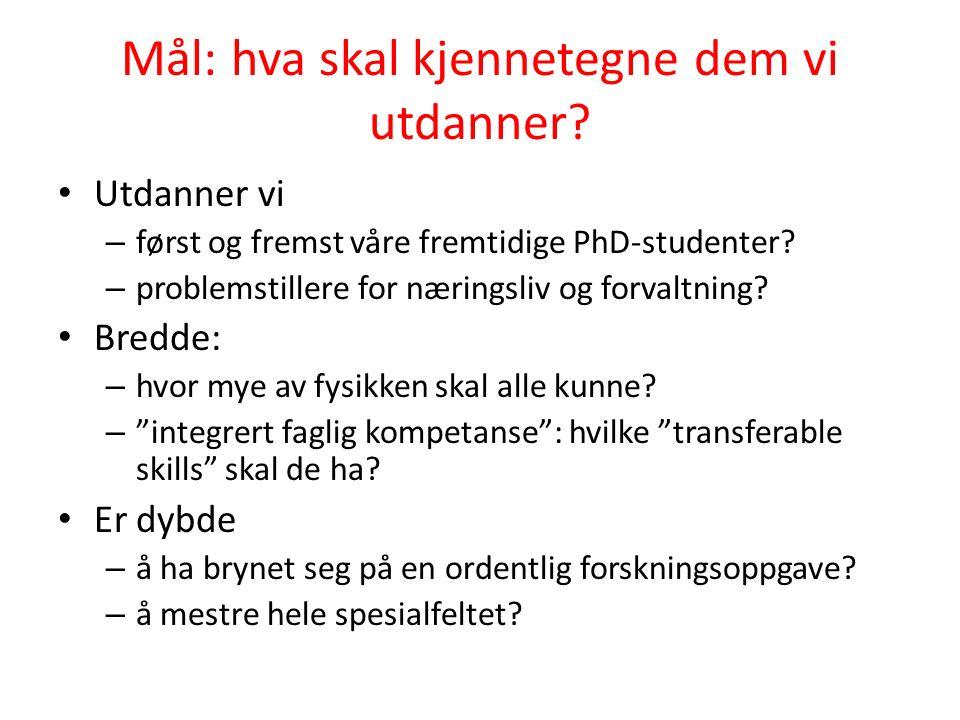 Mål: hva skal kjennetegne dem vi utdanner? Utdanner vi – først og fremst våre fremtidige PhD-studenter? – problemstillere for næringsliv og forvaltnin