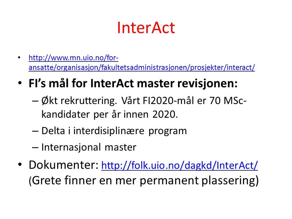 InterAct http://www.mn.uio.no/for- ansatte/organisasjon/fakultetsadministrasjonen/prosjekter/interact/ http://www.mn.uio.no/for- ansatte/organisasjon/fakultetsadministrasjonen/prosjekter/interact/ FI's mål for InterAct master revisjonen: – Økt rekruttering.