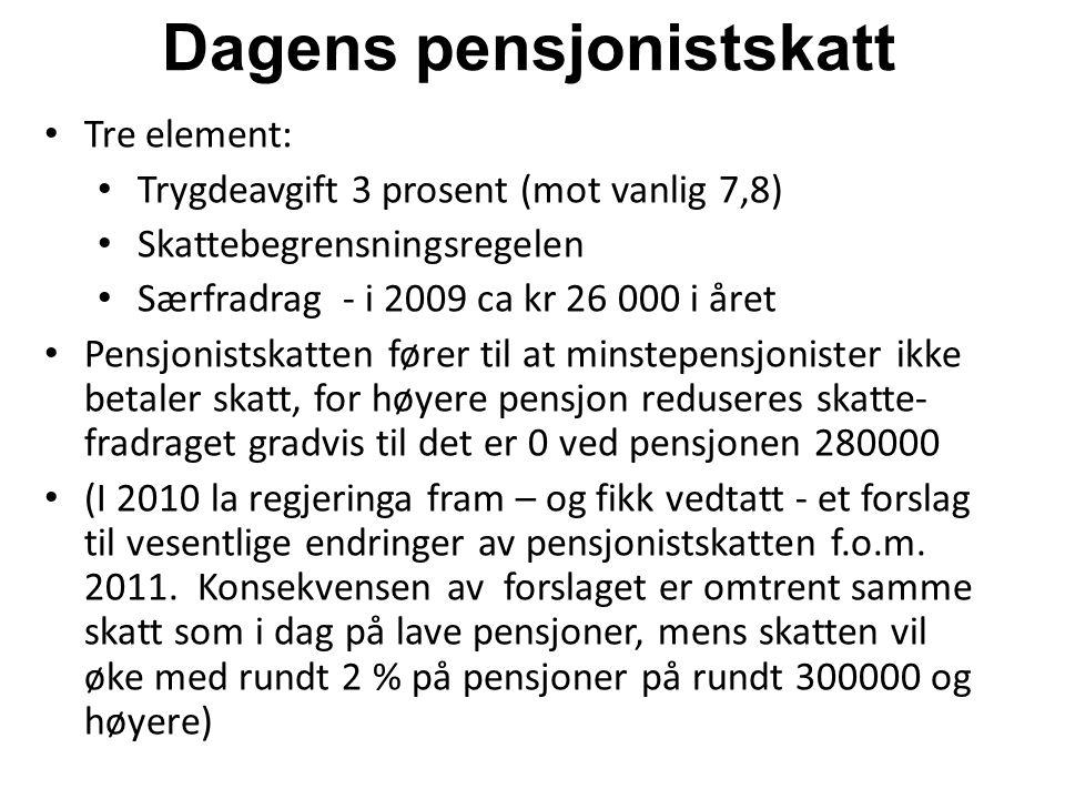 Dagens pensjonistskatt Tre element: Trygdeavgift 3 prosent (mot vanlig 7,8) Skattebegrensningsregelen Særfradrag - i 2009 ca kr 26 000 i året Pensjoni