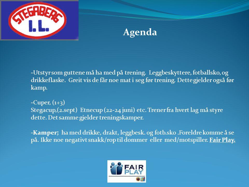 Agenda -Utstyr som guttene må ha med på trening. Leggbeskyttere, fotballsko, og drikkeflaske.