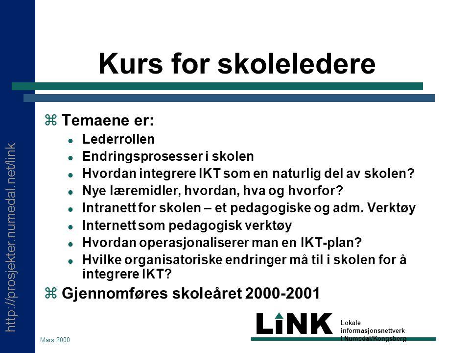 http://prosjekter.numedal.net/link LINK Lokale informasjonsnettverk i Numedal/Kongsberg Mars 2000 LiNK Hva vil det få å si for deg som lærer