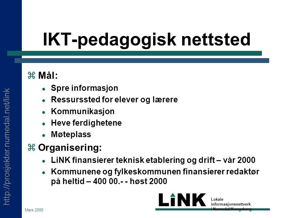http://prosjekter.numedal.net/link LINK Lokale informasjonsnettverk i Numedal/Kongsberg Mars 2000 Styrke bibliotekene  Tiltak: Utvikle folkebibliotekene til studiested for fjernund.