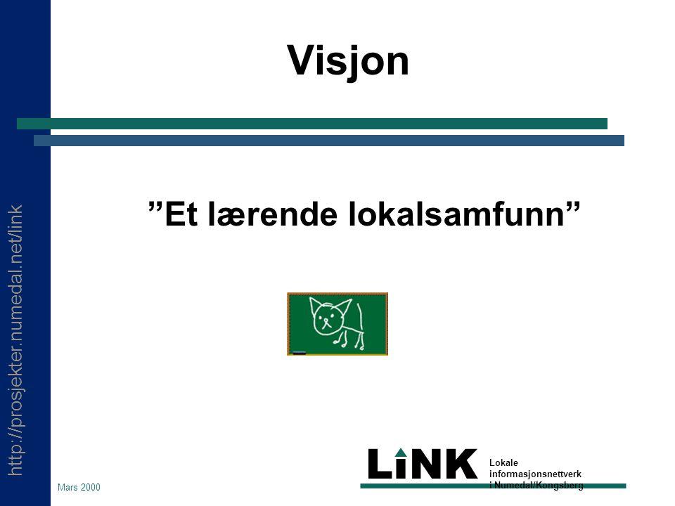 http://prosjekter.numedal.net/link LINK Lokale informasjonsnettverk i Numedal/Kongsberg Mars 2000 Hva står LINK for.