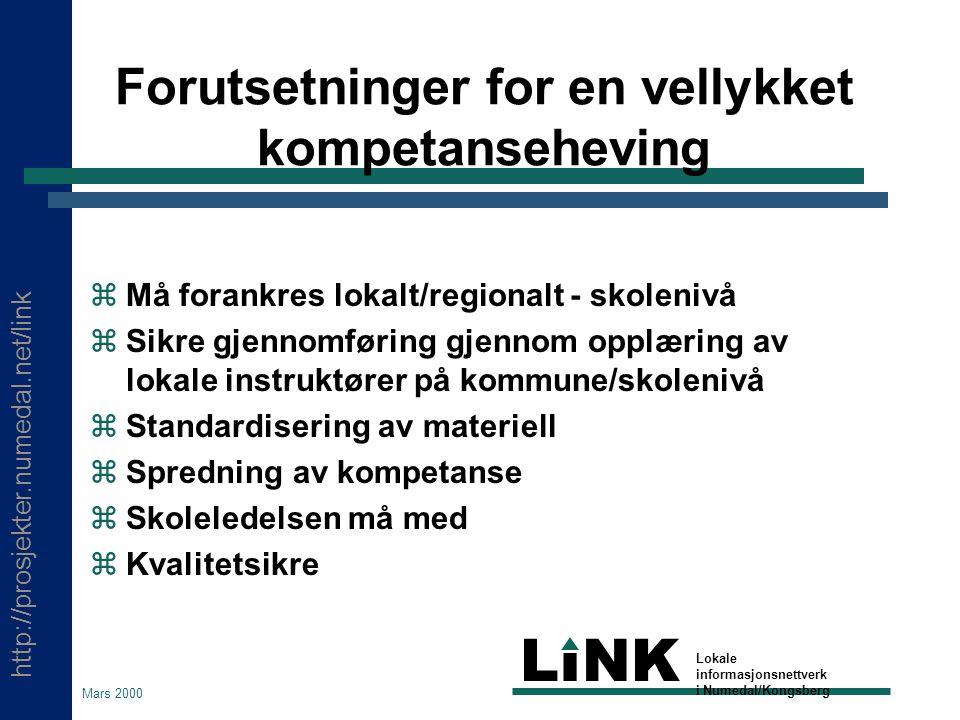 http://prosjekter.numedal.net/link LINK Lokale informasjonsnettverk i Numedal/Kongsberg Mars 2000 Hvorfor satse på skoleverket.