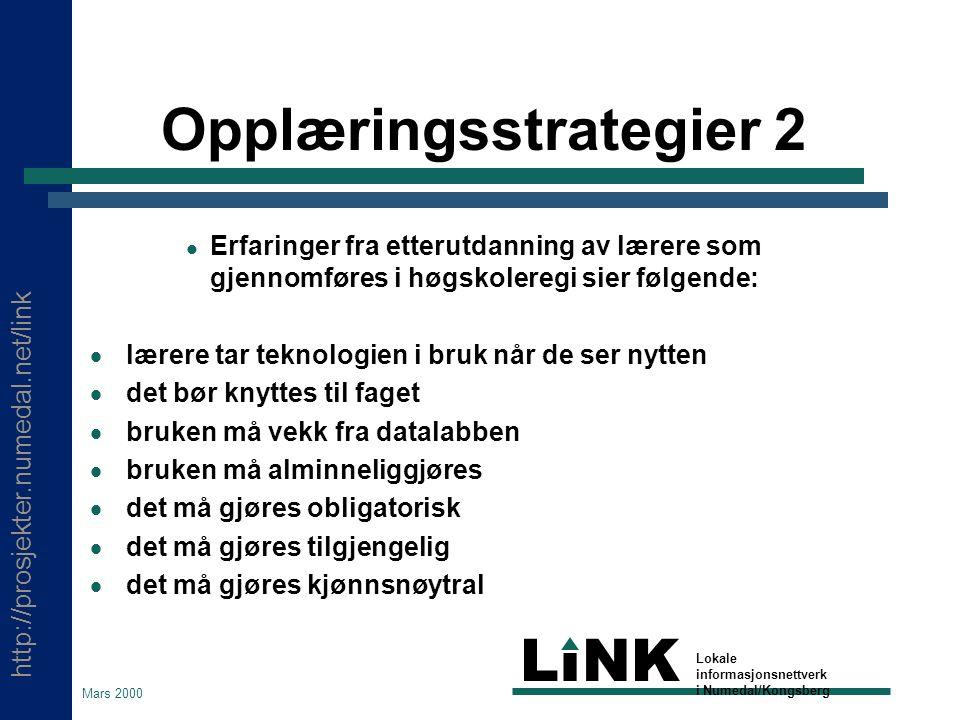 http://prosjekter.numedal.net/link LINK Lokale informasjonsnettverk i Numedal/Kongsberg Mars 2000 Opplæringsstrategier 1  Modulbaserte opplegg forankret innenfor en kommunal strategisk plan synes å gi positive virkninger.