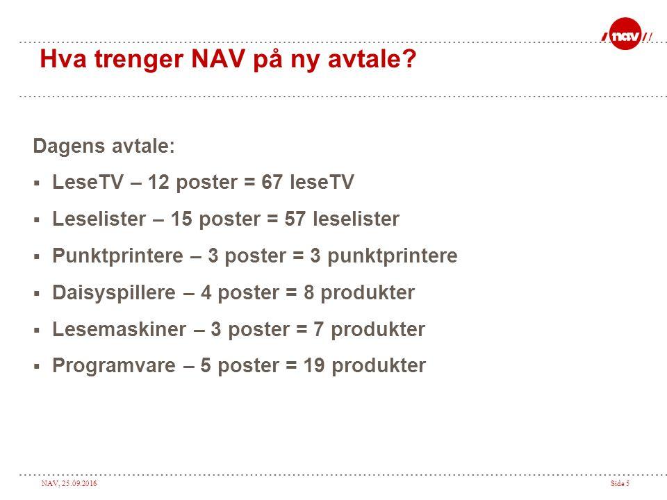 NAV, 25.09.2016Side 5 Hva trenger NAV på ny avtale.