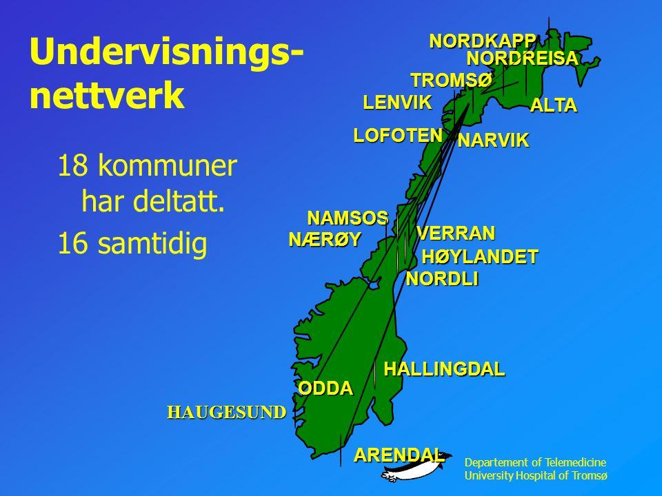 Departement of Telemedicine University Hospital of Tromsø Undervisnings- nettverk 18 kommuner har deltatt.