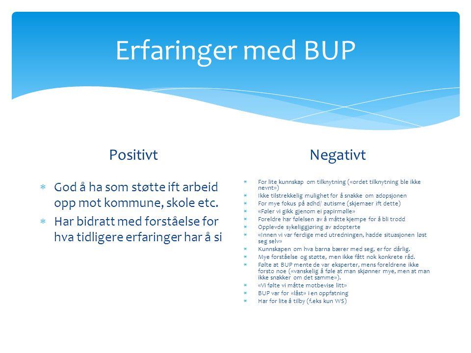 Erfaringer med BUP Positivt  God å ha som støtte ift arbeid opp mot kommune, skole etc.