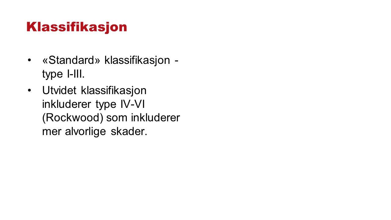Klassifikasjon «Standard» klassifikasjon - type I-III. Utvidet klassifikasjon inkluderer type IV-VI (Rockwood) som inkluderer mer alvorlige skader.