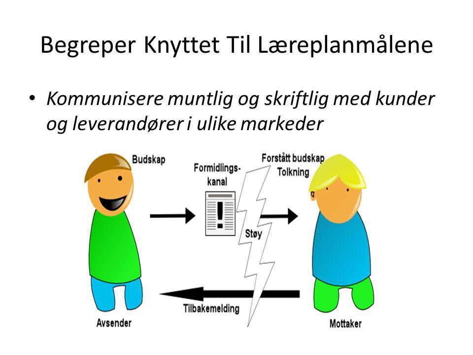 Begreper Knyttet Til Læreplanmålene Kommunisere muntlig og skriftlig med kunder og leverandører i ulike markeder