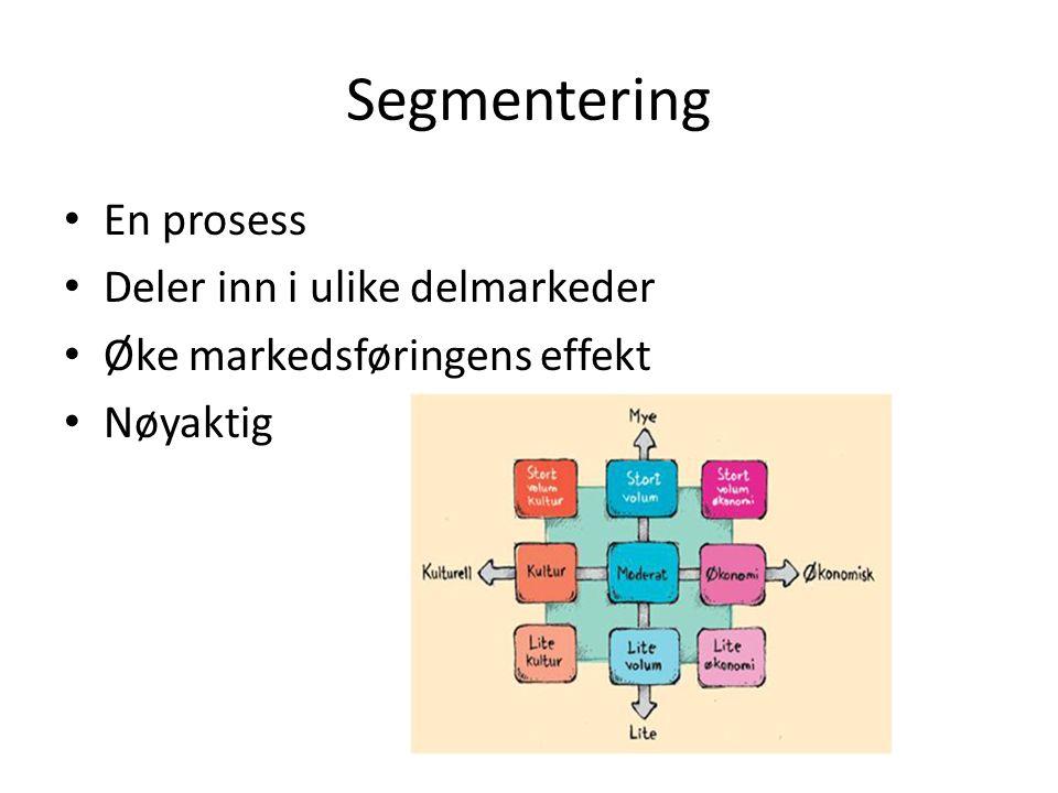 Segmentering En prosess Deler inn i ulike delmarkeder Øke markedsføringens effekt Nøyaktig