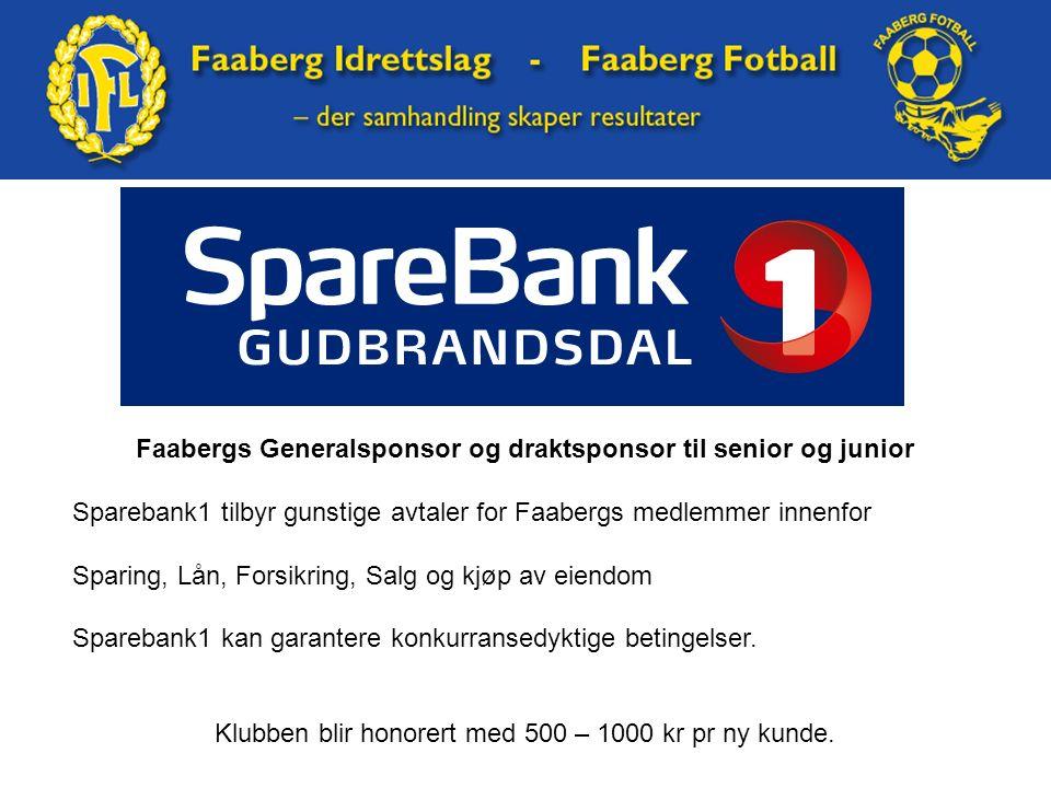 Faabergs Generalsponsor og draktsponsor til senior og junior Sparebank1 tilbyr gunstige avtaler for Faabergs medlemmer innenfor Sparing, Lån, Forsikring, Salg og kjøp av eiendom Sparebank1 kan garantere konkurransedyktige betingelser.
