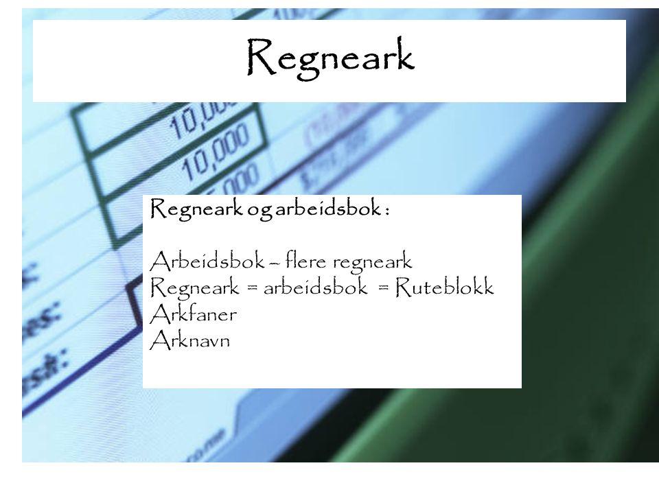 Regneark Menyer: Excel Google Docs OpenOffice