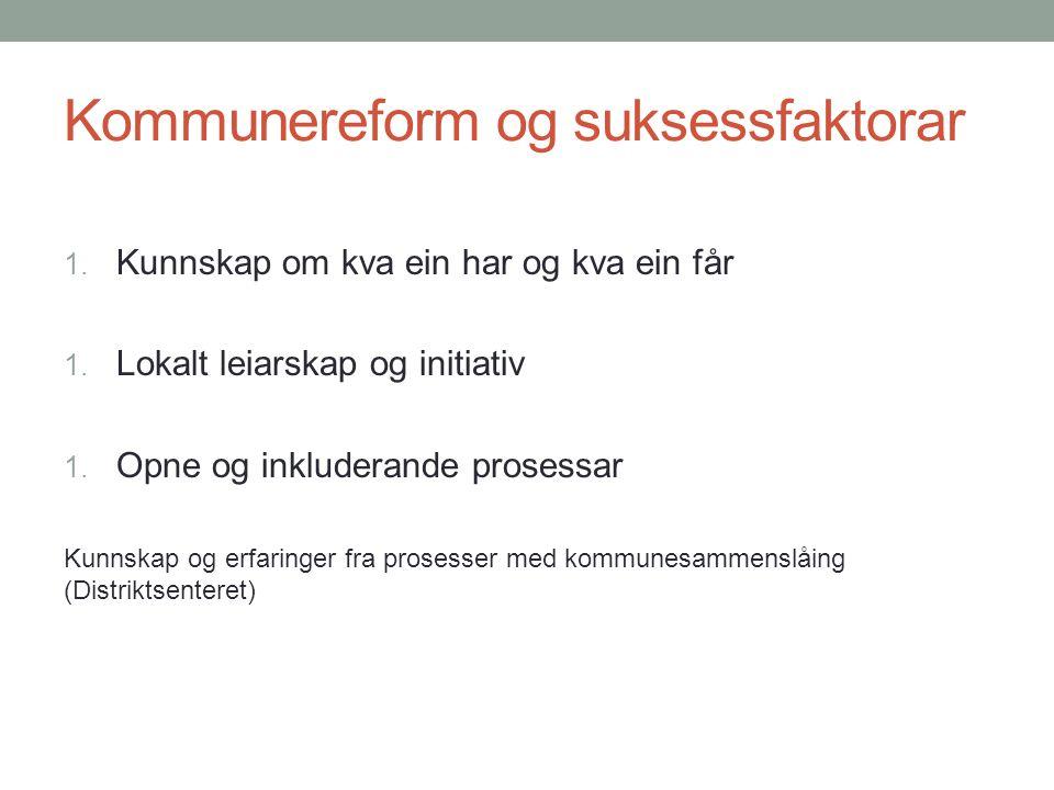 Kommunereform og suksessfaktorar 1. Kunnskap om kva ein har og kva ein får 1.