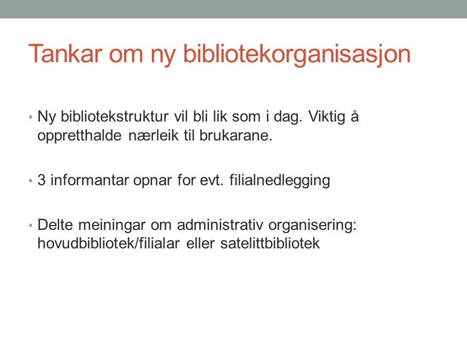 Tankar om ny bibliotekorganisasjon Ny bibliotekstruktur vil bli lik som i dag.