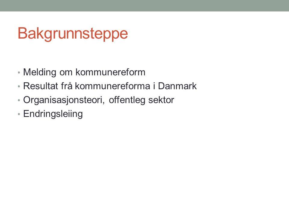 Bakgrunnsteppe Melding om kommunereform Resultat frå kommunereforma i Danmark Organisasjonsteori, offentleg sektor Endringsleiing
