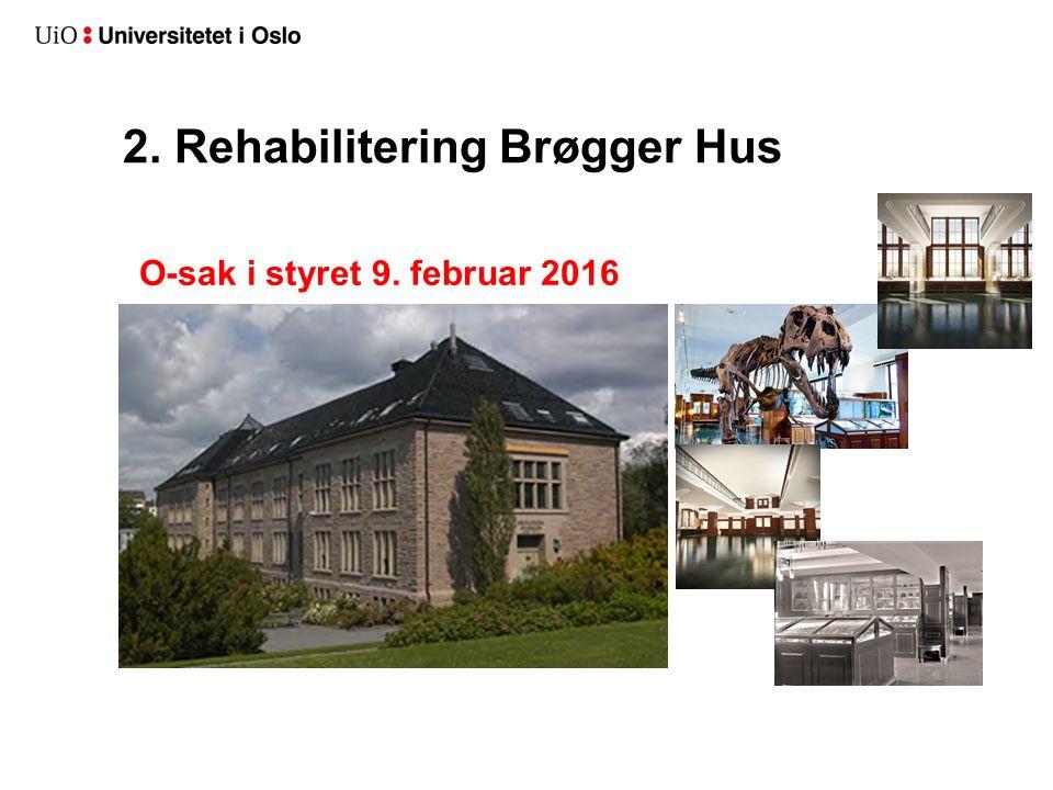 2. Rehabilitering Brøgger Hus O-sak i styret 9. februar 2016