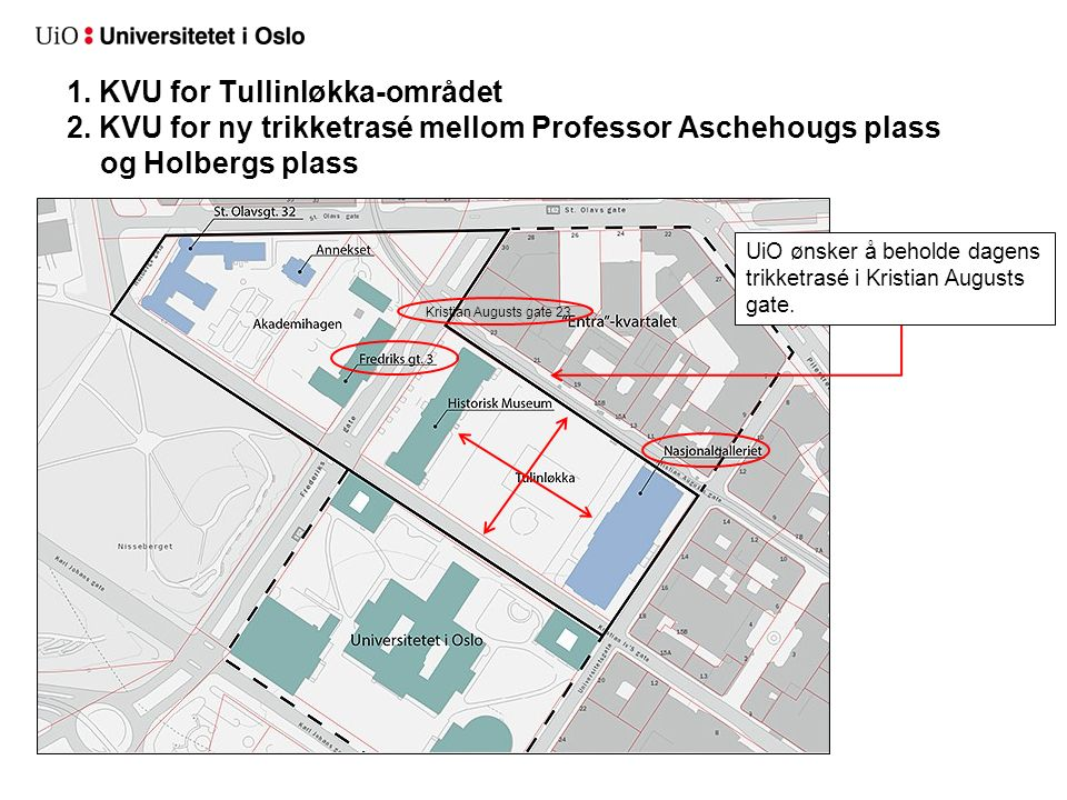 1. KVU for Tullinløkka-området 2. KVU for ny trikketrasé mellom Professor Aschehougs plass og Holbergs plass UiO ønsker å beholde dagens trikketrasé i