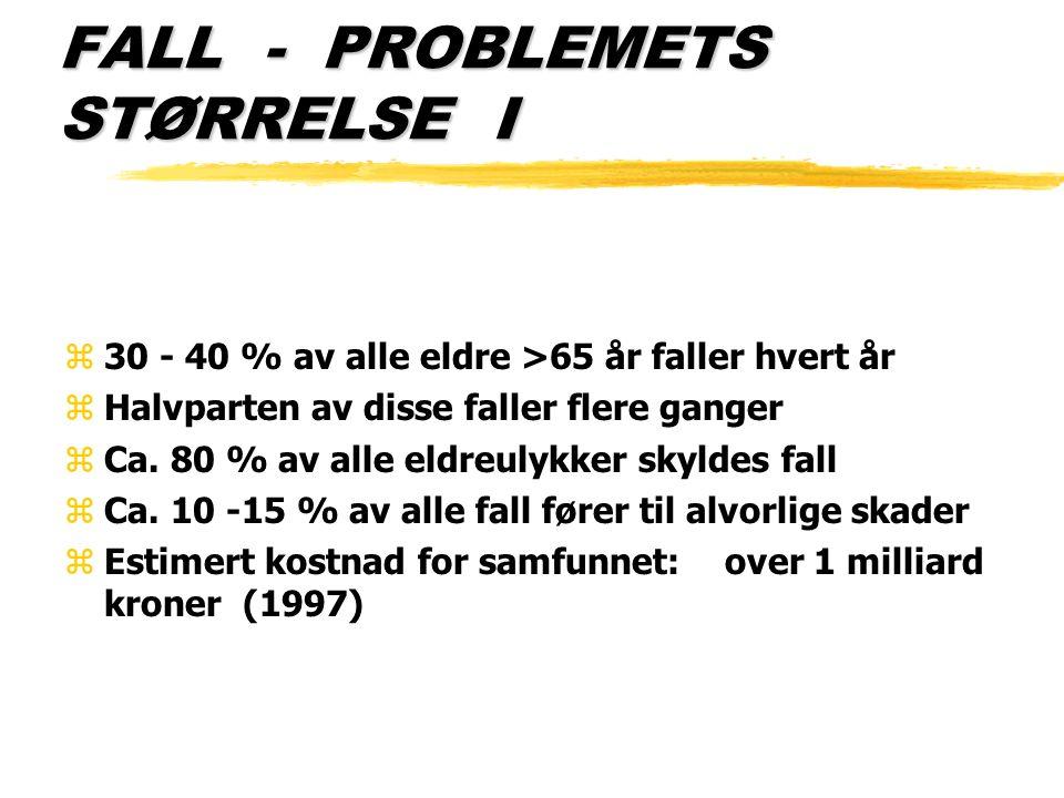 FALL - PROBLEMETS STØRRELSE I z30 - 40 % av alle eldre >65 år faller hvert år zHalvparten av disse faller flere ganger zCa. 80 % av alle eldreulykker