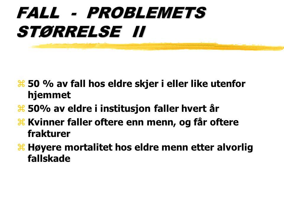 FALL - PROBLEMETS STØRRELSE III z50% av alle >65 år blir hospitalisert etter fallulykker zDette utgjør 20% av alle skade - eller ulykkesrelaterte innleggelser zBetydelig morbiditet og mortalitet i forbindelse med alvorlige fallskader zSignifikant lengre liggetid enn hos yngre