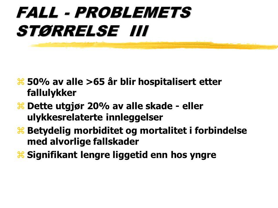 FALL - PROBLEMETS STØRRELSE III z50% av alle >65 år blir hospitalisert etter fallulykker zDette utgjør 20% av alle skade - eller ulykkesrelaterte innl