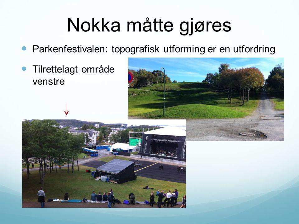 Nokka måtte gjøres Parkenfestivalen: topografisk utforming er en utfordring Tilrettelagt område nede til venstre