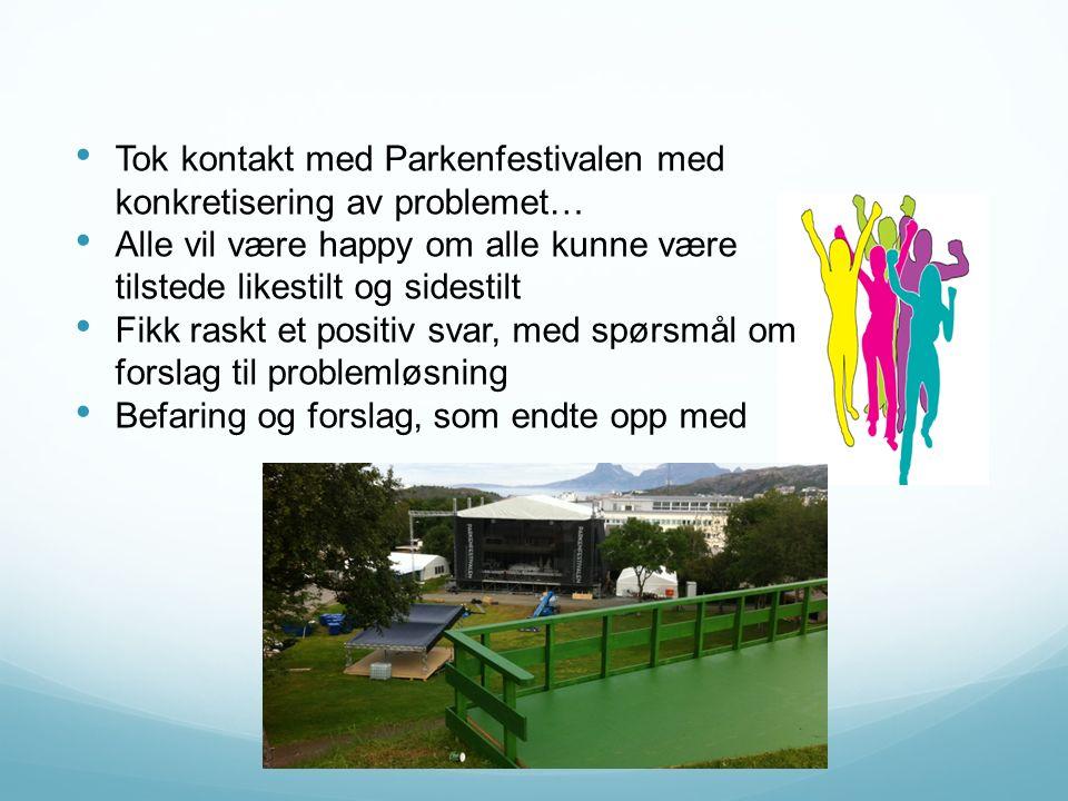 Tok kontakt med Parkenfestivalen med konkretisering av problemet… Alle vil være happy om alle kunne være tilstede likestilt og sidestilt Fikk raskt et