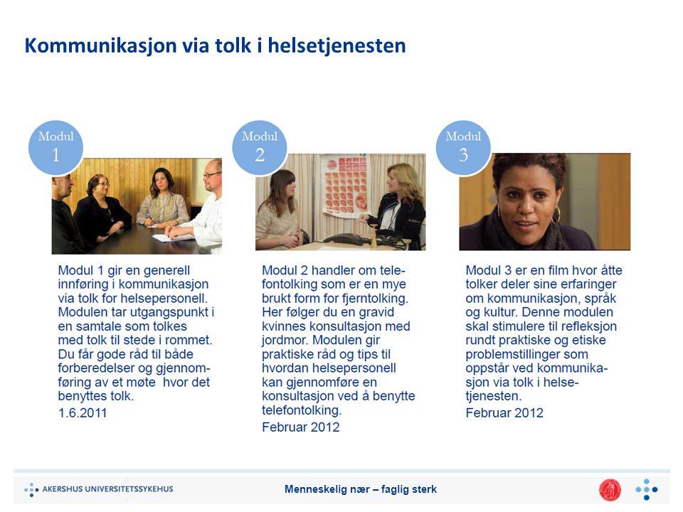 Menneskelig nær – faglig sterk Kommunikasjon via tolk i helsetjenesten