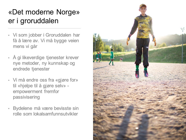 «Det moderne Norge» er i groruddalen Vi som jobber i Groruddalen har få å lære av. Vi må bygge veien mens vi går Å gi likeverdige tjenester krever nye