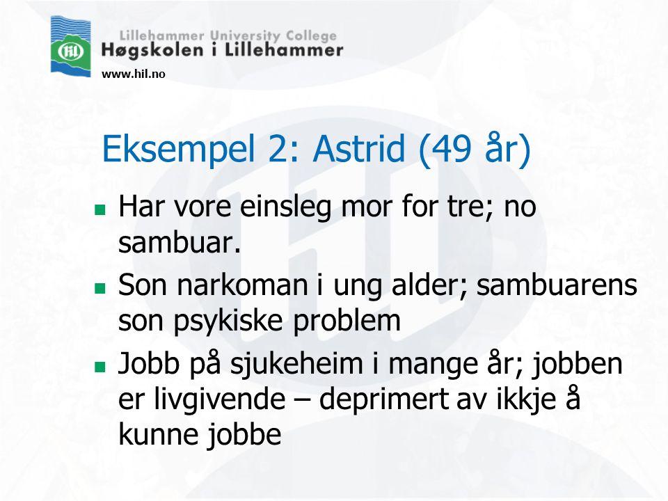 www.hil.no Har vore einsleg mor for tre; no sambuar. Son narkoman i ung alder; sambuarens son psykiske problem Jobb på sjukeheim i mange år; jobben er
