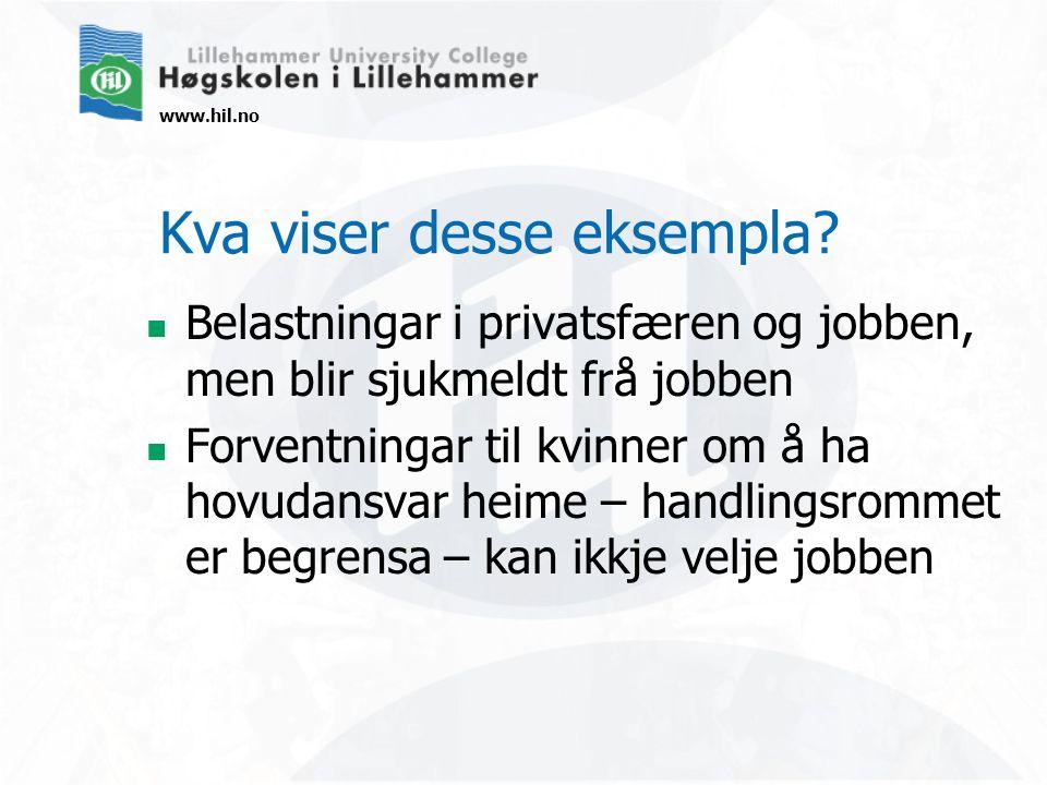 www.hil.no Kva viser desse eksempla? Belastningar i privatsfæren og jobben, men blir sjukmeldt frå jobben Forventningar til kvinner om å ha hovudansva