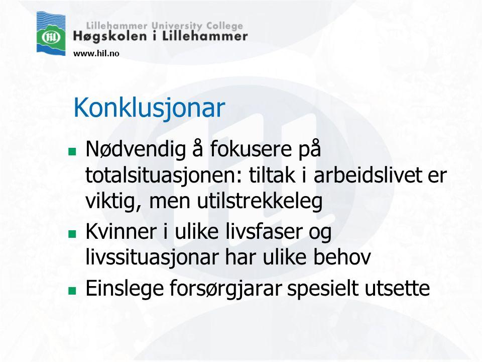 www.hil.no Konklusjonar Nødvendig å fokusere på totalsituasjonen: tiltak i arbeidslivet er viktig, men utilstrekkeleg Kvinner i ulike livsfaser og liv
