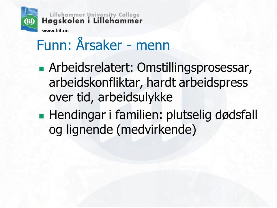 www.hil.no Funn: Årsaker - menn Arbeidsrelatert: Omstillingsprosessar, arbeidskonfliktar, hardt arbeidspress over tid, arbeidsulykke Hendingar i famil