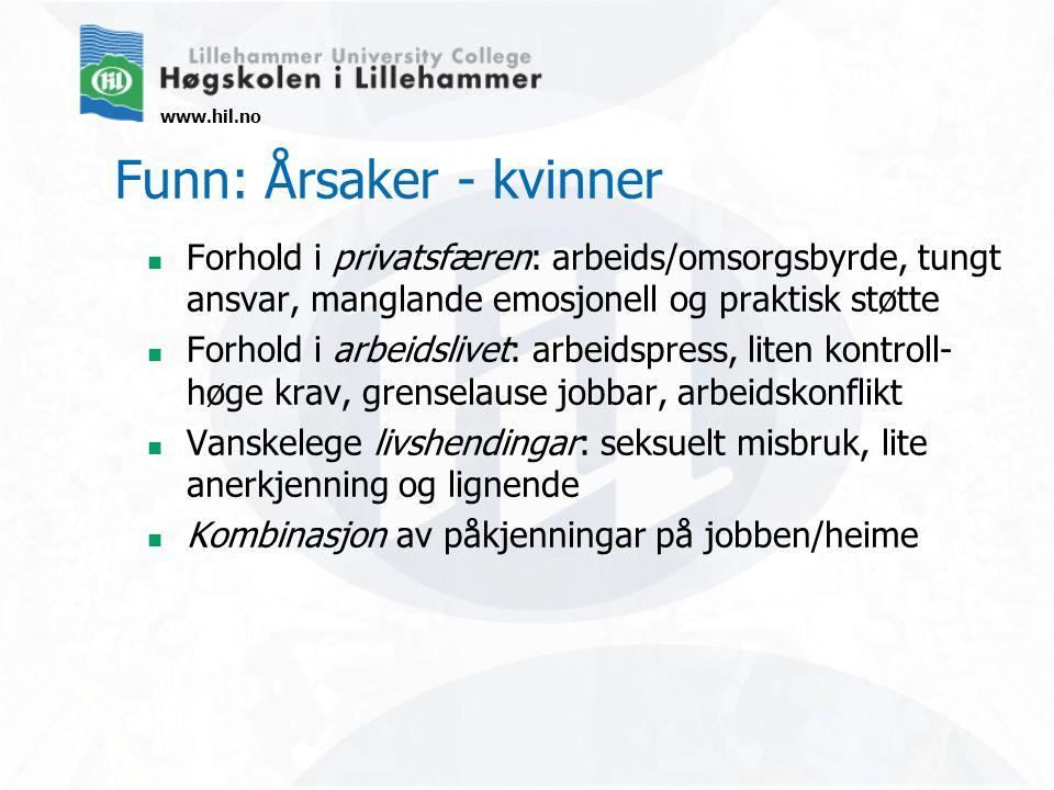 www.hil.no Funn: Årsaker - kvinner Forhold i privatsfæren: arbeids/omsorgsbyrde, tungt ansvar, manglande emosjonell og praktisk støtte Forhold i arbei