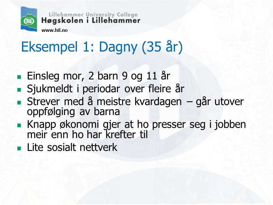 www.hil.no Eksempel 1: Dagny (35 år) Einsleg mor, 2 barn 9 og 11 år Sjukmeldt i periodar over fleire år Strever med å meistre kvardagen – går utover o