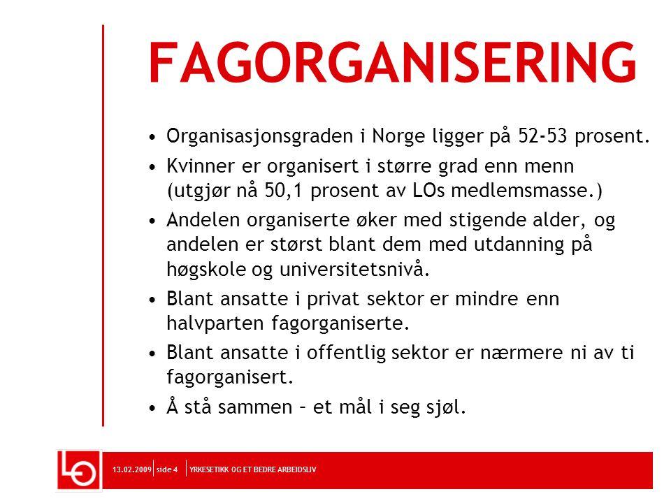 YRKESETIKK OG ET BEDRE ARBEIDSLIV13.02.2009side 4 FAGORGANISERING Organisasjonsgraden i Norge ligger på 52-53 prosent. Kvinner er organisert i større