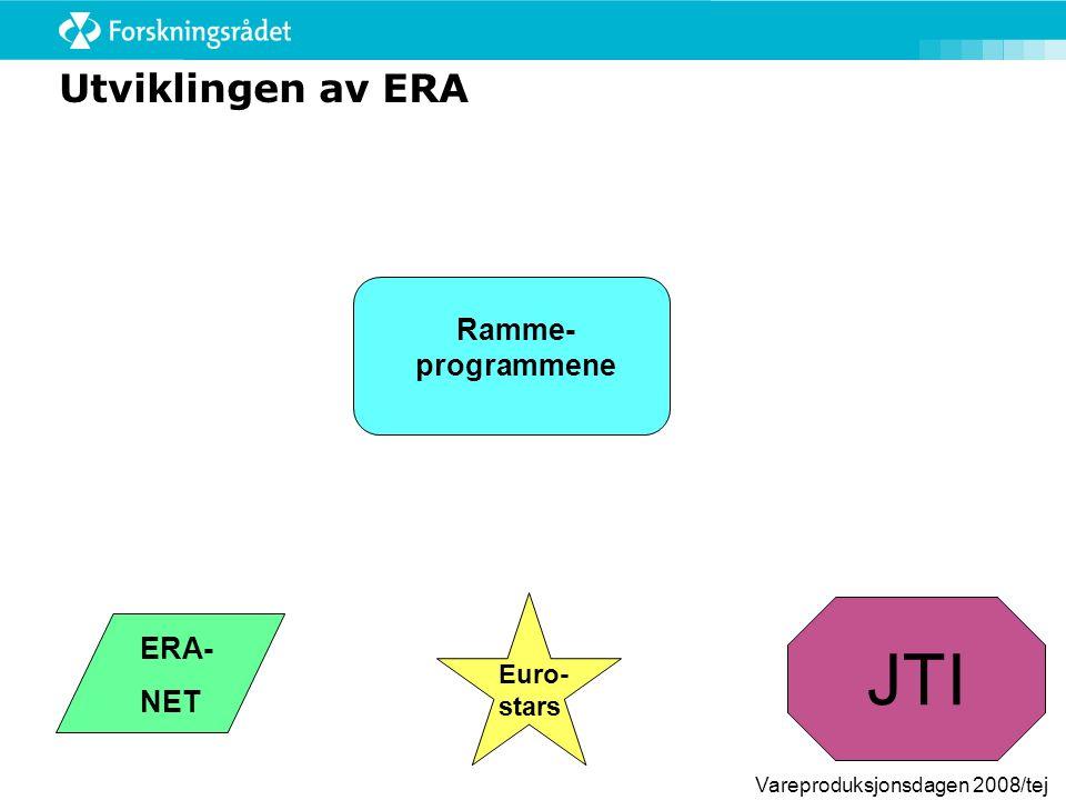 Vareproduksjonsdagen 2008/tej Ramme- programmene Utviklingen av ERA ERA- NET JTI Euro- stars